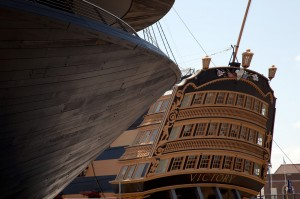 The exterior of the Mary Rose Museum mirrors the shape of Nelson's flagship, HMS Victory, next door. (c) Luke Hayes