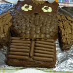 Chocolate owl-shaped cake